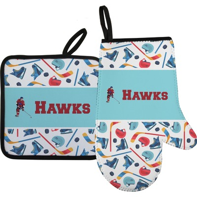 Hockey 2 Oven Mitt & Pot Holder (Personalized)