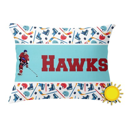 Hockey 2 Outdoor Throw Pillow (Rectangular) (Personalized)