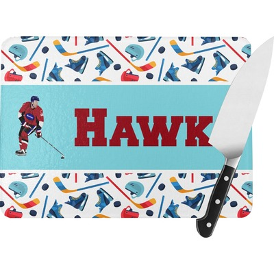 Hockey 2 Rectangular Glass Cutting Board (Personalized)