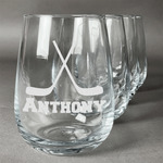 Hockey 2 Stemless Wine Glasses (Set of 4) (Personalized)