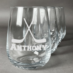 Hockey 2 Wine Glasses (Stemless Set of 4) (Personalized)