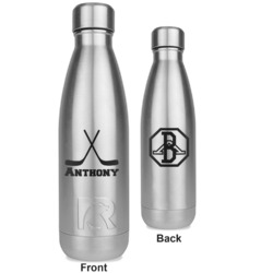 Hockey 2 RTIC Bottle - Silver - Engraved Front & Back (Personalized)