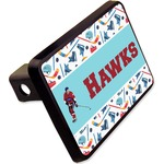 """Hockey 2 Rectangular Trailer Hitch Cover - 2"""" (Personalized)"""