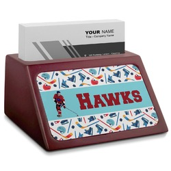 Hockey 2 Red Mahogany Business Card Holder (Personalized)
