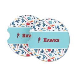 Hockey 2 Sandstone Car Coasters (Personalized)