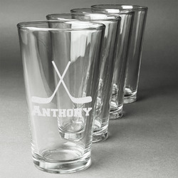 Hockey 2 Beer Glasses (Set of 4) (Personalized)
