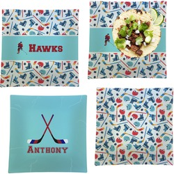 """Hockey 2 Set of 4 Glass Square Lunch / Dinner Plate 9.5"""" (Personalized)"""
