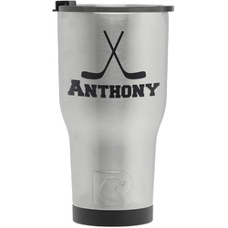 Hockey 2 RTIC Tumbler - Silver - Engraved Front (Personalized)
