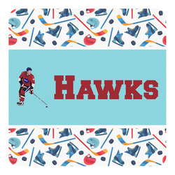 Hockey 2 Square Decal - Large (Personalized)