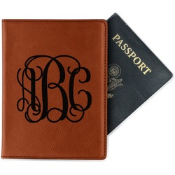 Interlocking Monogram Leatherette Passport Holder (Personalized)