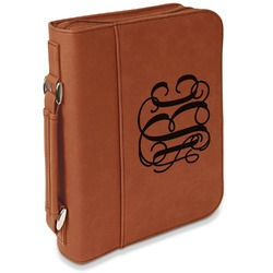 Interlocking Monogram Leatherette Bible Cover with Handle & Zipper - Large- Single Sided (Personalized)
