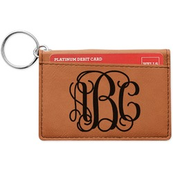 Interlocking Monogram Leatherette Keychain ID Holder (Personalized)