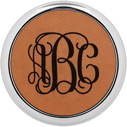 Interlocking Monogram Leatherette Round Coaster w/ Silver Edge - Single or Set (Personalized)
