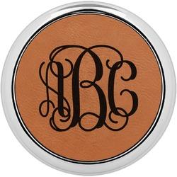 Interlocking Monogram Leatherette Round Coaster w/ Silver Edge - Single or Set (Personalized)