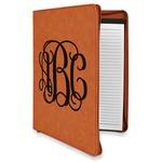 Interlocking Monogram Leatherette Zipper Portfolio with Notepad (Personalized)