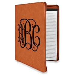 Interlocking Monogram Leatherette Zipper Portfolio with Notepad (Personalized)
