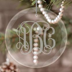 Interlocking Monogram Engraved Glass Ornament (Personalized)