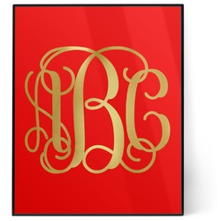 Interlocking Monogram 8x10 Foil Wall Art - Red (Personalized)