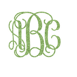 Interlocking Monogram Glitter Iron On Transfer- Custom Sized (Personalized)