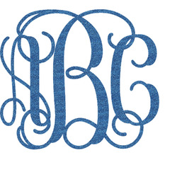Interlocking Monogram Glitter Sticker Decal - Custom Sized (Personalized)