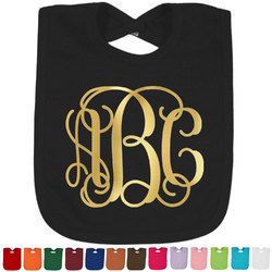 Interlocking Monogram Foil Baby Bibs (Select Foil Color) (Personalized)