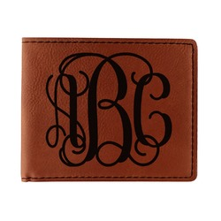 Interlocking Monogram Leatherette Bifold Wallet - Double Sided (Personalized)