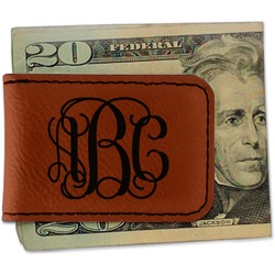 Interlocking Monogram Leatherette Magnetic Money Clip (Personalized)