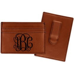 Interlocking Monogram Leatherette Wallet with Money Clip (Personalized)