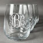 Interlocking Monogram Stemless Wine Glasses (Set of 4) (Personalized)