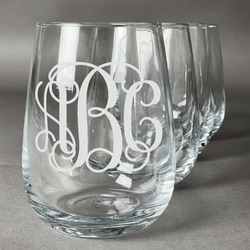 Interlocking Monogram Wine Glasses (Stemless- Set of 4) (Personalized)