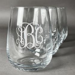 Interlocking Monogram Wine Glasses (Stemless- Set of 4) (Personalized)