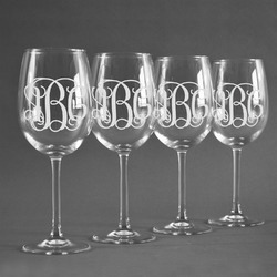 Interlocking Monogram Wine Glasses (Set of 4) (Personalized)