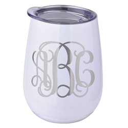 Interlocking Monogram Stemless Wine Tumbler - 5 Color Choices - Stainless Steel  (Personalized)
