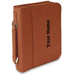 Block Name Leatherette Bible Cover with Handle & Zipper - Large- Single Sided (Personalized)
