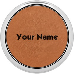 Block Name Leatherette Round Coaster w/ Silver Edge - Single or Set (Personalized)