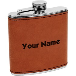 Block Name Leatherette Wrapped Stainless Steel Flask (Personalized)