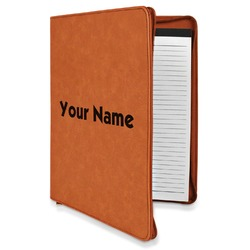Block Name Leatherette Zipper Portfolio with Notepad (Personalized)