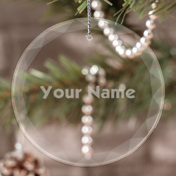 Block Name Engraved Glass Ornament (Personalized)