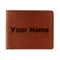 Block Name Leatherette Bifold Wallet - Double Sided (Personalized)