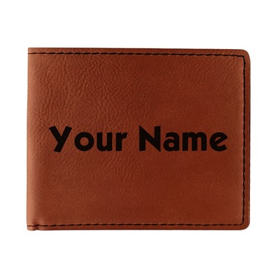 Block Name Leatherette Bifold Wallet (Personalized)