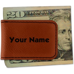 Block Name Leatherette Magnetic Money Clip - Single Sided (Personalized)