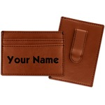 Block Name Leatherette Wallet with Money Clip (Personalized)