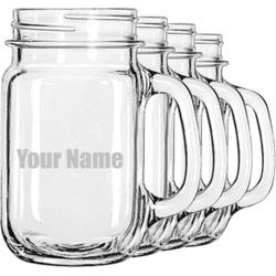 Block Name Mason Jar Mugs (Set of 4) (Personalized)