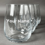 Block Name Stemless Wine Glasses (Set of 4) (Personalized)