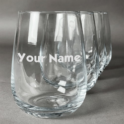 Block Name Wine Glasses (Stemless- Set of 4) (Personalized)