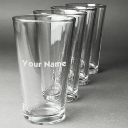 Block Name Beer Glasses (Set of 4) (Personalized)