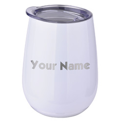 Block Name Stemless Wine Tumbler - 5 Color Choices - Stainless Steel  (Personalized)