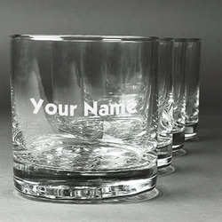Block Name Whiskey Glasses (Set of 4) (Personalized)