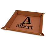 """Name & Initial 9"""" x 9"""" Leather Valet Tray w/ Name and Initial"""