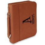 Name & Initial Leatherette Book / Bible Cover with Handle & Zipper (Personalized)